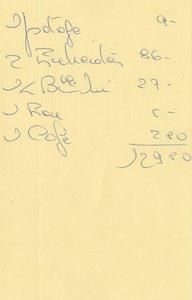 伝票(名刺の裏に値段表が書かれていました)