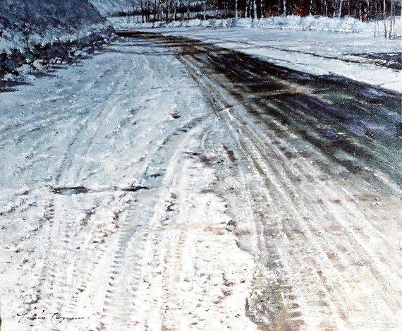 白樺湖への道
