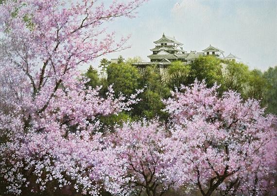 春光(愛媛県・松山城と桜)