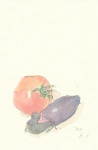 葉書(5) 菜園で採れた茄子とトマト